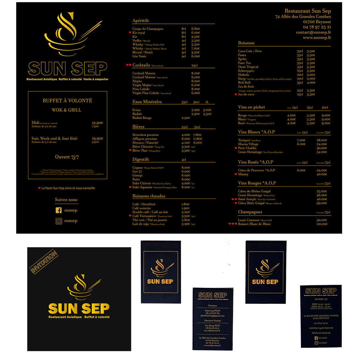 sun sep set de table invitation cartes de visite